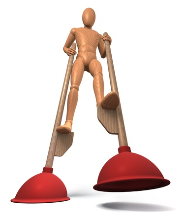 Figure going on plunger stilts photo