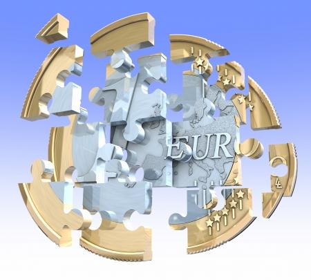 空を背景にユーロ硬貨をパズルします。