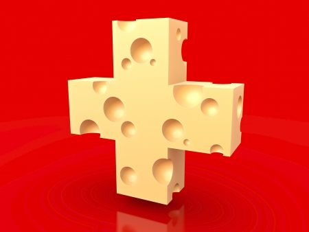 スイスチーズの赤い旗 写真素材