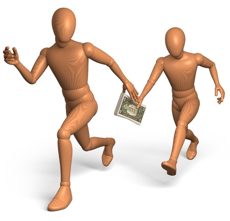 Relay race for bribe money with dollar photo