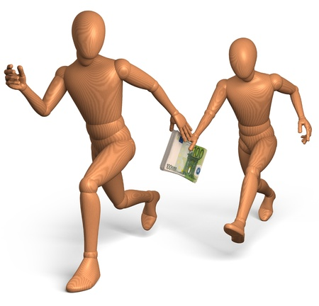 bribe: Relay race for bribe money with euro Stock Photo