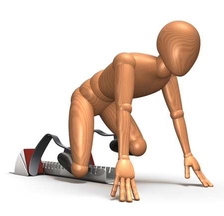 amputated: Amputated runner in starting block on blades Stock Photo