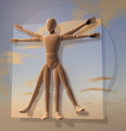 Leonardo Da Vinci s Vitruvian Man, Figure, Homo Quadratus over sky, 3d rendering on background photo