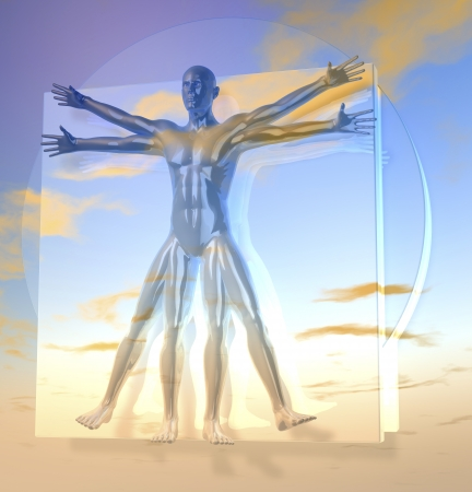 Leonardo Da Vinci s Vitruvian Man, Homo Quadratus over sky, 3d rendering on background