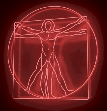 Leonardo Da Vinci s Vitruvian Man in a Red Neon Tube, Homo Quadratus, 3d rendering on black background