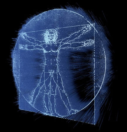 Leonardo Da Vinci s Vitruvian Man, Homo Quadratus, 3d rendering on black background
