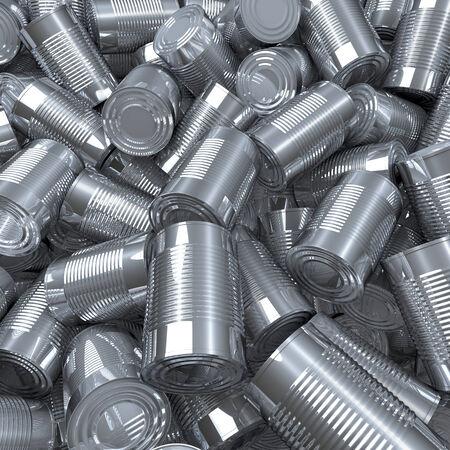 super market: Shiny tin cans, 3d rendering