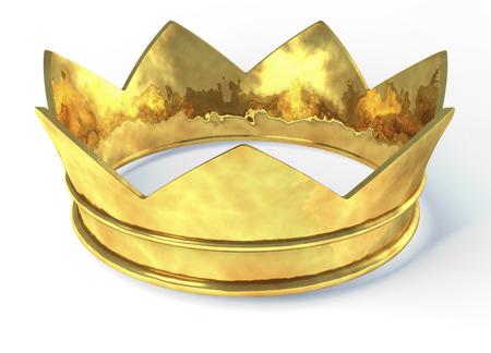 corona rey: Corona de oro, 3d aislado en fondo blanco