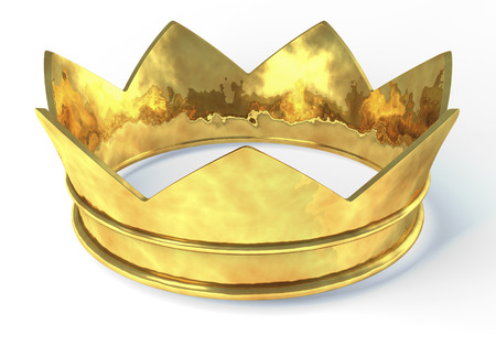medieval king: Golden crown, 3d rendering isolated on white background