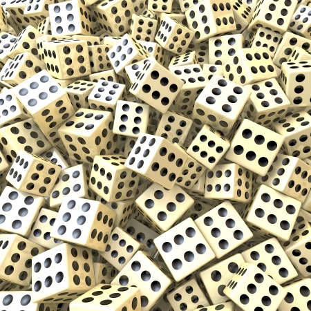 sure: Heap of dice, sure win, perfect game, loaded dice, 3d rendering