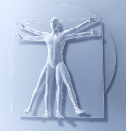 Leonardo Da Vinci のウィトルウィウスマン、ホモ方形 3 d レンダリング