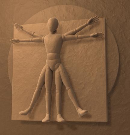 Leonardo Da Vinci s Vitruvian Man, Homo Quadratus, 3d rendering Stock Photo - 23663823