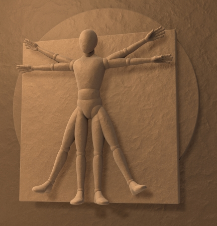 Leonardo Da Vinci s Vitruvian Man, Homo Quadratus, 3d rendering Stock Photo - 23663823