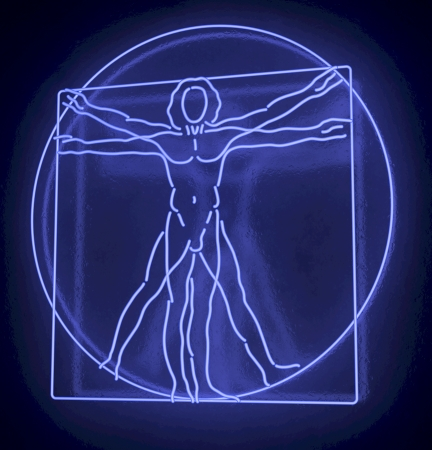 Leonardo Da Vinci s Vitruvian Man in a Blue Neon Tube, Homo Quadratus, 3d rendering on black background