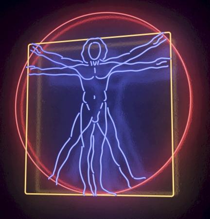 Leonardo Da Vinci s ウィトルウィウスマン青、赤、黄色ネオン管を完了、ホモ方形に黒の背景に 3 d レンダリング