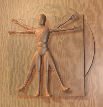 Leonardo Da Vinci s Vitruvian Man, Homo Quadratus in wood surface, 3d rendering Stock Photo - 23663826
