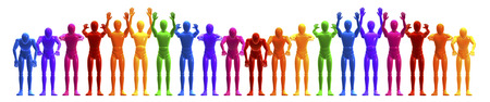 applauding: La ola, applauding, colorful line of people, figures forming a wave, frontal 3d rendering isolated on white background
