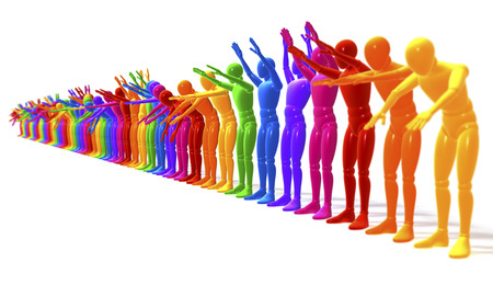 applauding: La ola, applauding, colorful line of people, figures forming a wave, perspective 3d rendering isolated on white background  Stock Photo