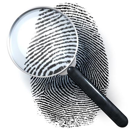 Lupe über Fingerprint, 3D-Rendering auf weißem Hintergrund