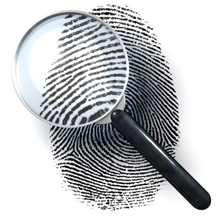 Magnifying glass over finger print, 3d rendering isolated on white background photo