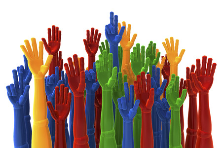 Colored hands raised up for election, choice, 3d rendering isolated on white background Stock Photo