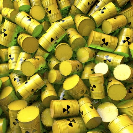 Barrels, casks, drums of nuclear waste, 3d rendering Stock Photo - 23978972