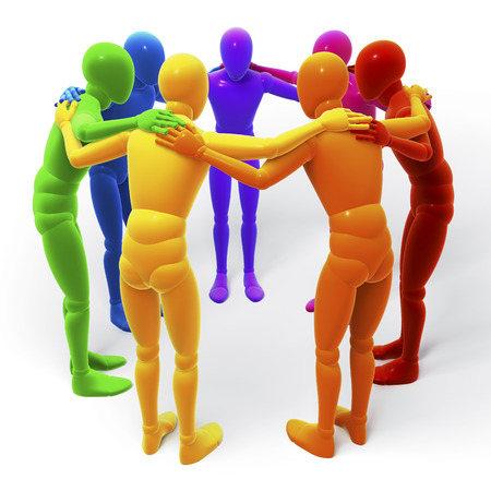Circle, group of colored figures, people, 3d rendering isolated on white background Stock Photo