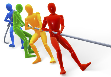 Colored figures, men performing the tug of war, 3d rendering isolated on white background