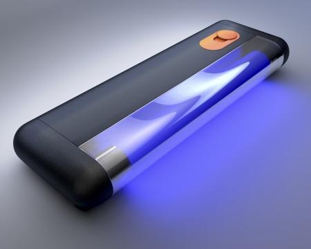 UV 紫外線光管、薄暗い背景の 3 d レンダリング