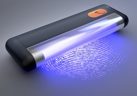 id theft: UV, ultraviolet Light Tube illuminating a fingerprint, 3d rendering on dim background Stock Photo