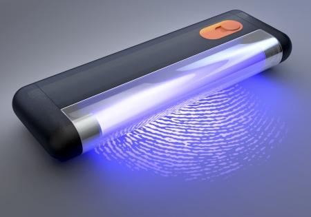 fbi: UV, ultraviolet Tube de lumi�re �clairant une empreinte digitale, Rendu 3D sur fond sombre