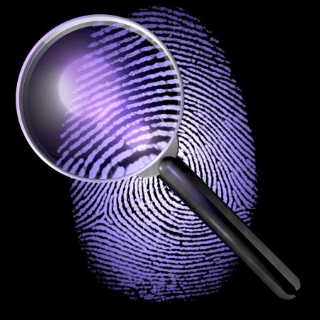UV aangestoken vingerafdruk onder een vergrootglas - 3D-weergave geïsoleerd op een donkere, zwarte achtergrond Stockfoto