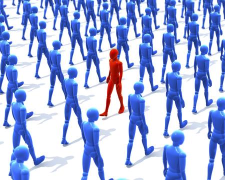 Een man, figuur lopen in tegenstelling tot een groep, menigte van het lopen houten figuren, mensen, 3D-rendering op een witte achtergrond