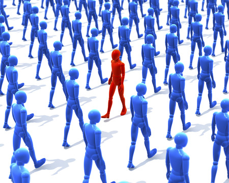 against abstract: One man, figure walking contrary to a group, crowd of walking wooden figures, people, 3d rendering on white background