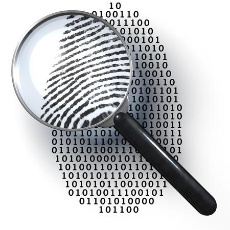 investigacion: Lupa sobre la huella digital de unos y ceros, muestra las huellas dactilares naturales Foto de archivo