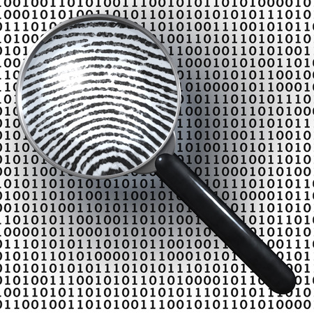 criminality: Magnifying glass over grid of ones and zeroes, showing fingerprint