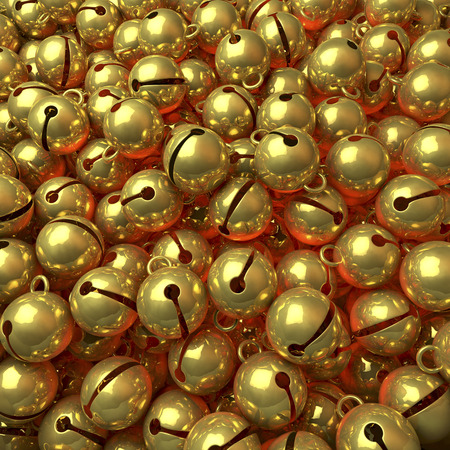 to chime: Pool, heap of golden jingle bells Stock Photo