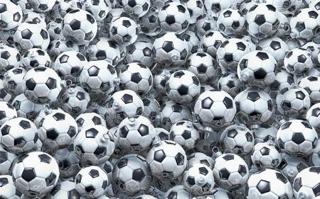 Pool, heap of soccer balls, footballs as christmas baubles