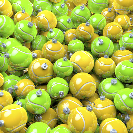 Pool, heap of tennis balls as christmas baubles photo