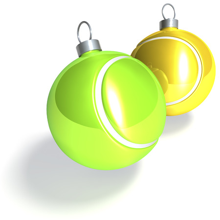 Two tennis balls as christmas baubles Stock Photo
