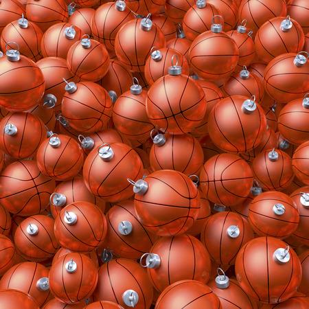 Pool, heap of basket balls as christmas baubles 版權商用圖片