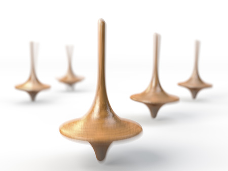 Spinning wooden pegs, peg tops Stock Photo