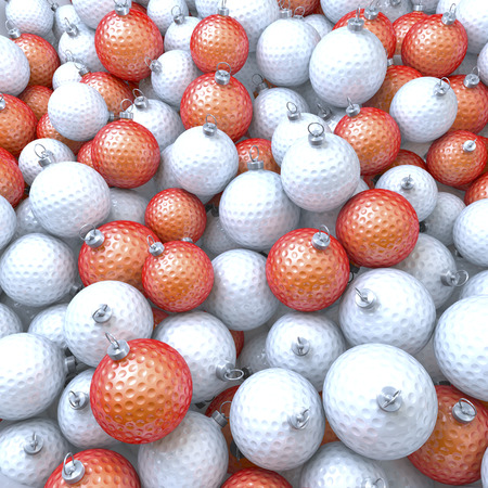 Pool, heap of golfballs as christmas baubles photo