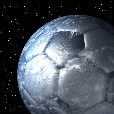 Planet earth as soccer ball from space photo