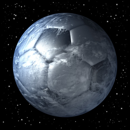 Planet earth as soccer ball from space, centered photo