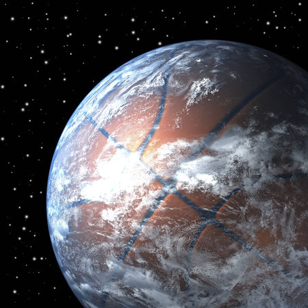Planet earth as basket ball from sp Stok Fotoğraf