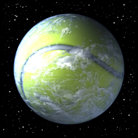 tenis: Planet earth as tennis ball from space, centered Stock Photo