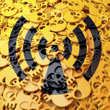 Warning sign radiation, yellow, black Stock Photo - 27183000