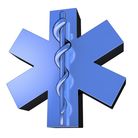 Star of life, ambulance sign, blue, reflective, from bottom right photo