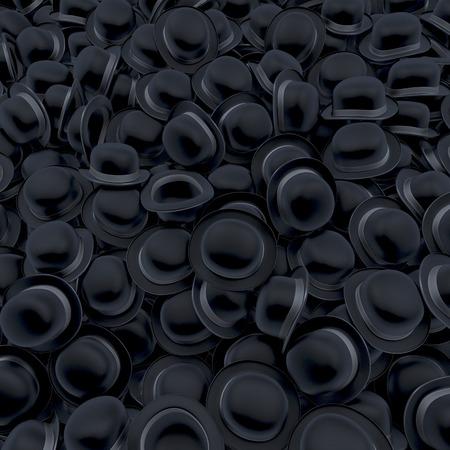 bowler hats: Pool, heap of black bowler hats Stock Photo